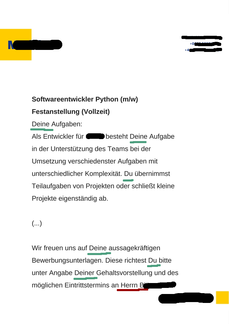 Wrong usage of 'du' and 'Sie' in a German job ad