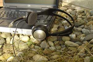 computer and headset